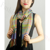 Woven Cashmere Feel Plaid Scarf Z23 Multi Color