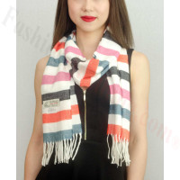 Woven Cashmere Feel Strip Scarf Z37 Pink/White
