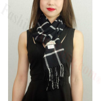 Woven Cashmere Feel Checker Scarf Z38 Black