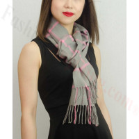 Woven Cashmere Feel Checker Scarf Z38 Grey/Pink