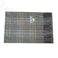 Woven Cashmere Feel Plaid Scarf Z42 Brown