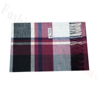 Woven Cashmere Feel Plaid Scarf Z43 Violet Red