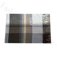 Woven Cashmere Feel Plaid Scarf Z43 Brown
