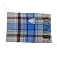 Woven Cashmere Feel Plaid Scarf Z44 Blue