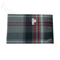 Woven Cashmere Feel Plaid Scarf Z44 Grey