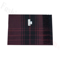 Woven Cashmere Feel Plaid Scarf Z44 Dark Red