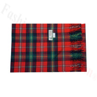 Woven Cashmere Feel Plaid Scarf Z44 Red/Green