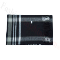 Woven Cashmere Feel Plaid Scarf Z45 Black