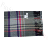Woven Cashmere Feel Plaid Scarf Z45 Grey