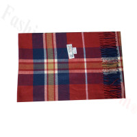Woven Cashmere Feel Plaid Scarf Z45 Navy/Red