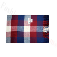 Woven Cashmere Feel Plaid Scarf Z45 Blue/Red