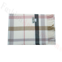 Woven Cashmere Feel Plaid Scarf Z46 White/Pink