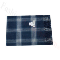 Woven Cashmere Feel Plaid Scarf Z46 Navy