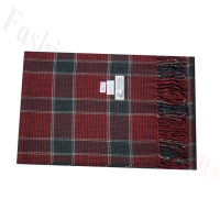 Woven Cashmere Feel Plaid Scarf Z46 Red/Black