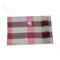 Woven Cashmere Feel Plaid Scarf Z46 Pink