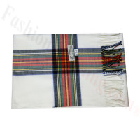 Woven Cashmere Feel Plaid Scarf Z47 White