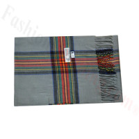Woven Cashmere Feel Plaid Scarf Z47 Grey