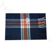 Woven Cashmere Feel Plaid Scarf Z47 Navy