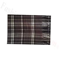 Woven Cashmere Feel Plaid Scarf Z48 Black/Grey