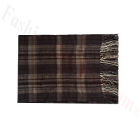 Woven Cashmere Feel Plaid Scarf Z48 Brown