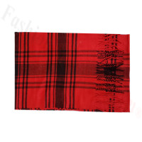 Woven Cashmere Feel Plaid Scarf Z49 Red