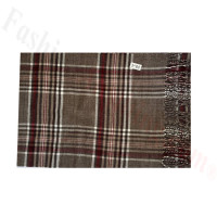 Woven Cashmere Feel Plaid Scarf Z49 Brown