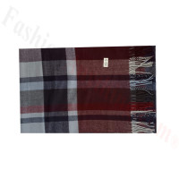 Woven Cashmere Feel Plaid Scarf Z49 Dark Red