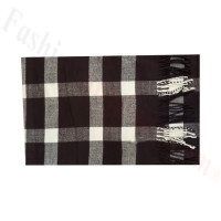 Woven Cashmere Feel Plaid Scarf Z50 Black/White