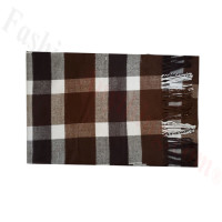 Woven Cashmere Feel Plaid Scarf Z50 Brown/White