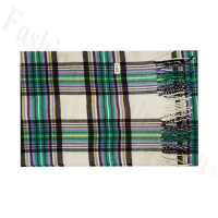 Woven Cashmere Feel Plaid Scarf Z50 White/Green