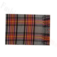 Woven Cashmere Feel Plaid Scarf Z50 Orange/Grey