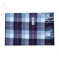 Woven Cashmere Feel Plaid Scarf Z51 Navy/Grey