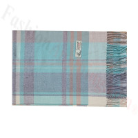 Woven Cashmere Feel Plaid Scarf Z52 Light Teal/Grey