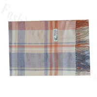 Woven Cashmere Feel Plaid Scarf Z52 Orange/Grey