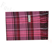 Woven Cashmere Feel Plaid Scarf Z52 Pink/Red