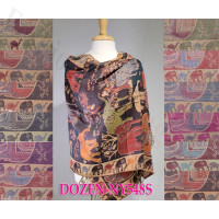 Elephant Pattern Pashmina 1 DZ, Asst. Color