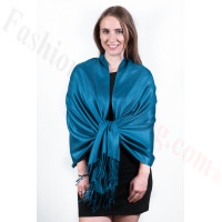 Silky Soft Solid Pashmina Scarf Ocean Blue New