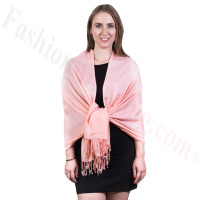 Silky Soft Solid Pashmina Scarf Peach Pink