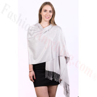 Silky Soft Solid Pashmina Scarf Silver