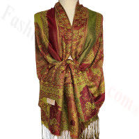 Paisley Flowers Pashmina Green/Red