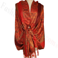 Paisley Flowers Pashmina Orange/Red