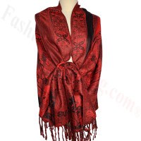 Paisley Flowers Pashmina Black/Red
