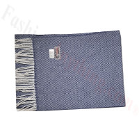 Cashmere Feel Pattern Scarf Navy